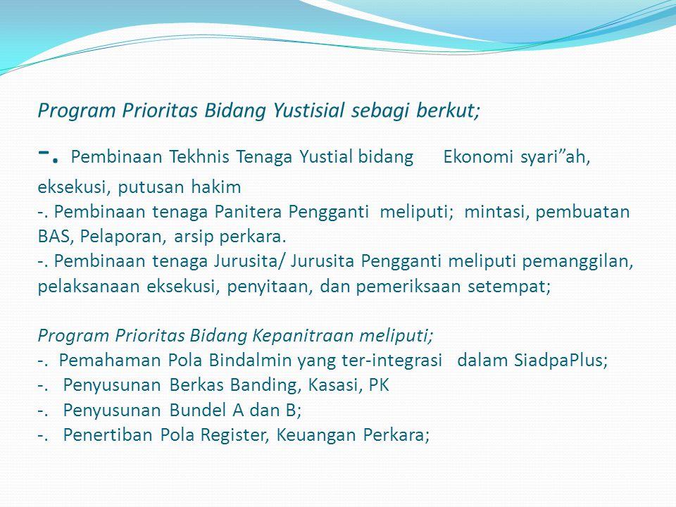 Program Prioritas Bidang Yustisial sebagi berkut; -.