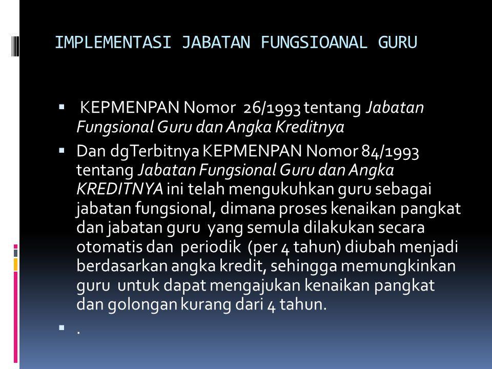 IMPLEMENTASI JABATAN FUNGSIOANAL GURU  KEPMENPAN Nomor 26/1993 tentang Jabatan Fungsional Guru dan Angka Kreditnya  Dan dgTerbitnya KEPMENPAN Nomor
