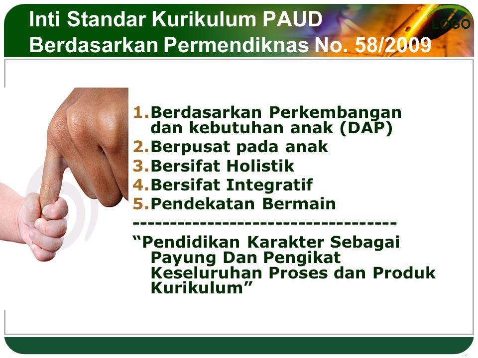 LOGO Inti Standar Kurikulum PAUD Berdasarkan Permendiknas No. 58/2009 1.Berdasarkan Perkembangan dan kebutuhan anak (DAP) 2.Berpusat pada anak 3.Bersi