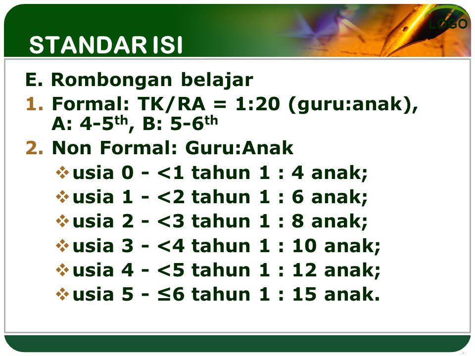LOGO STANDAR ISI E. Rombongan belajar 1.Formal: TK/RA = 1:20 (guru:anak), A: 4-5 th, B: 5-6 th 2.Non Formal: Guru:Anak  usia 0 - <1 tahun 1 : 4 anak;