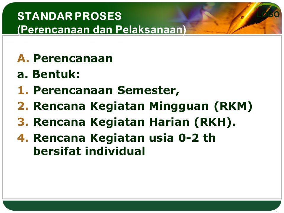 LOGO STANDAR PROSES (Perencanaan dan Pelaksanaan) A.Perencanaan a. Bentuk: 1.Perencanaan Semester, 2.Rencana Kegiatan Mingguan (RKM) 3.Rencana Kegiata