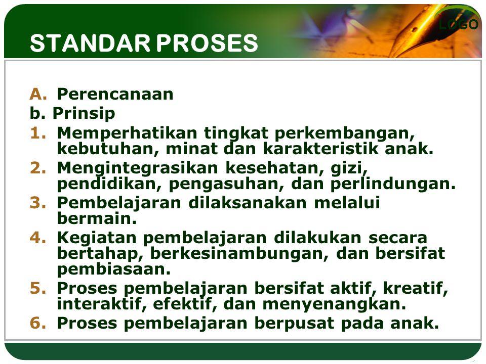 LOGO STANDAR PROSES (Perencanaan dan Pelaksanaan) A.Perencanaan b. Prinsip 1.Memperhatikan tingkat perkembangan, kebutuhan, minat dan karakteristik an
