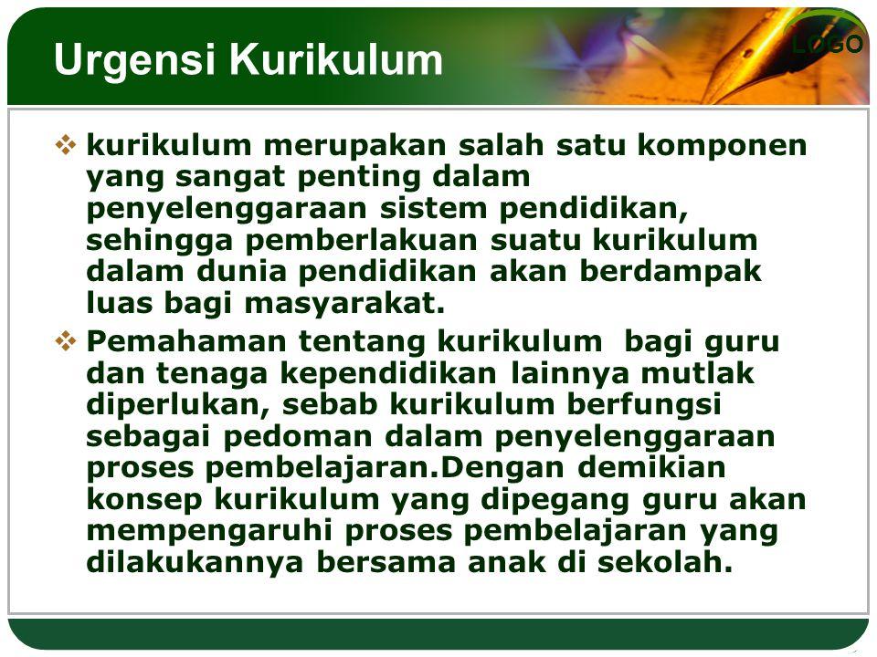 LOGO Urgensi Kurikulum  kurikulum merupakan salah satu komponen yang sangat penting dalam penyelenggaraan sistem pendidikan, sehingga pemberlakuan su
