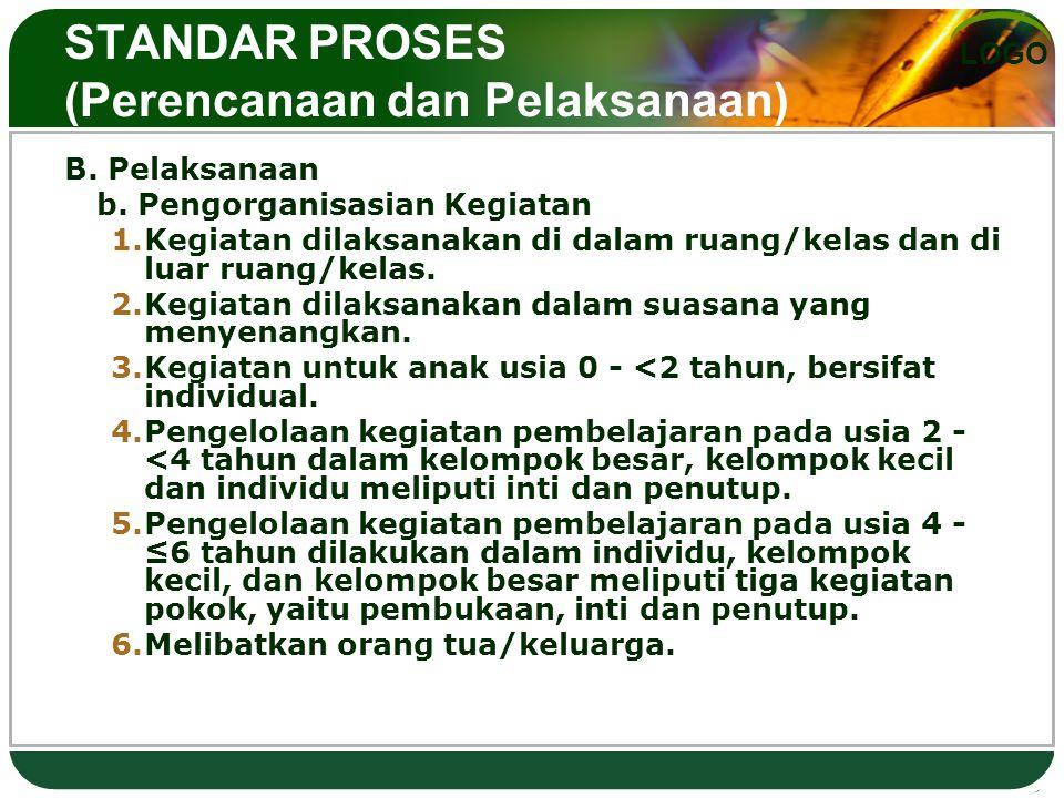 LOGO STANDAR PROSES (Perencanaan dan Pelaksanaan) B. Pelaksanaan b. Pengorganisasian Kegiatan 1.Kegiatan dilaksanakan di dalam ruang/kelas dan di luar