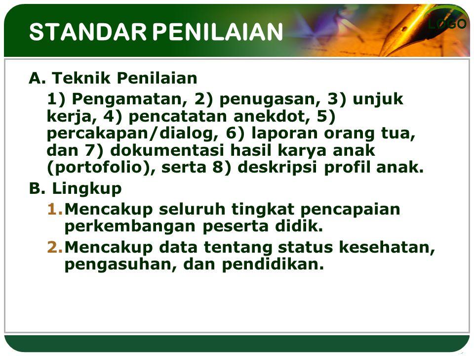 LOGO STANDAR PENILAIAN A. Teknik Penilaian 1) Pengamatan, 2) penugasan, 3) unjuk kerja, 4) pencatatan anekdot, 5) percakapan/dialog, 6) laporan orang