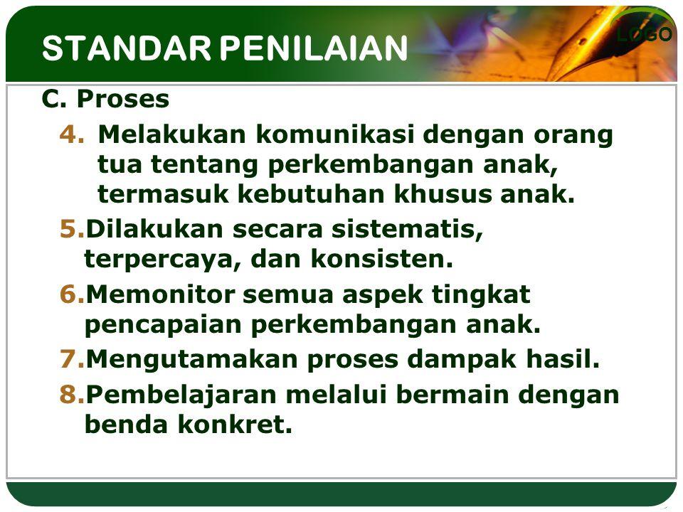 LOGO STANDAR PENILAIAN C. Proses 4.Melakukan komunikasi dengan orang tua tentang perkembangan anak, termasuk kebutuhan khusus anak. 5.Dilakukan secara