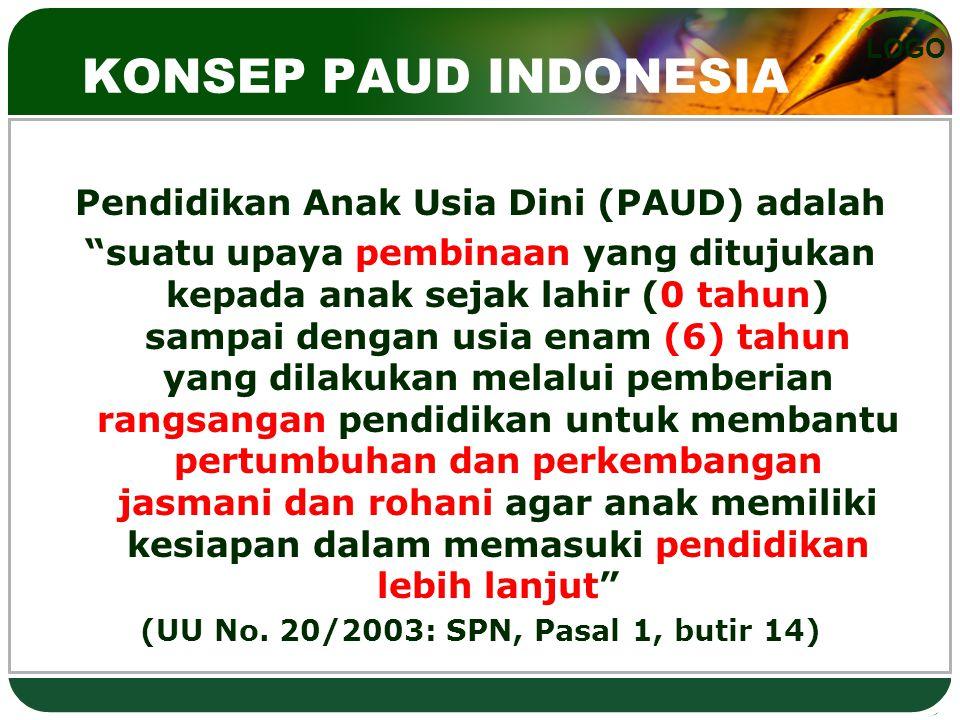 """LOGO KONSEP PAUD INDONESIA Pendidikan Anak Usia Dini (PAUD) adalah """"suatu upaya pembinaan yang ditujukan kepada anak sejak lahir (0 tahun) sampai deng"""