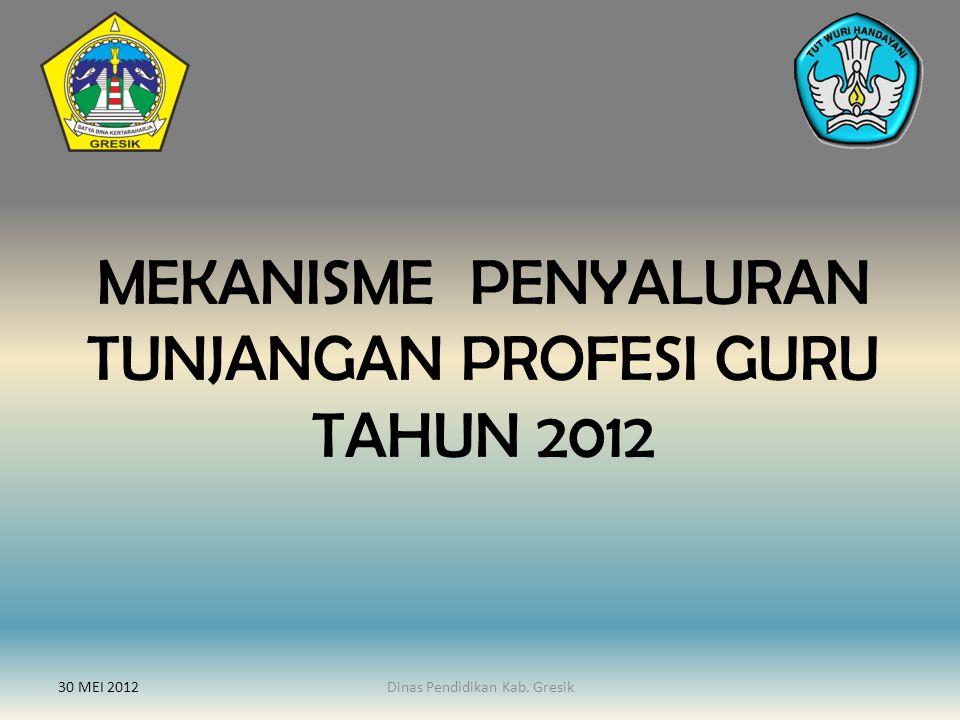 MEKANISME PENYALURAN TUNJANGAN PROFESI GURU TAHUN 2012 30 MEI 2012Dinas Pendidikan Kab. Gresik
