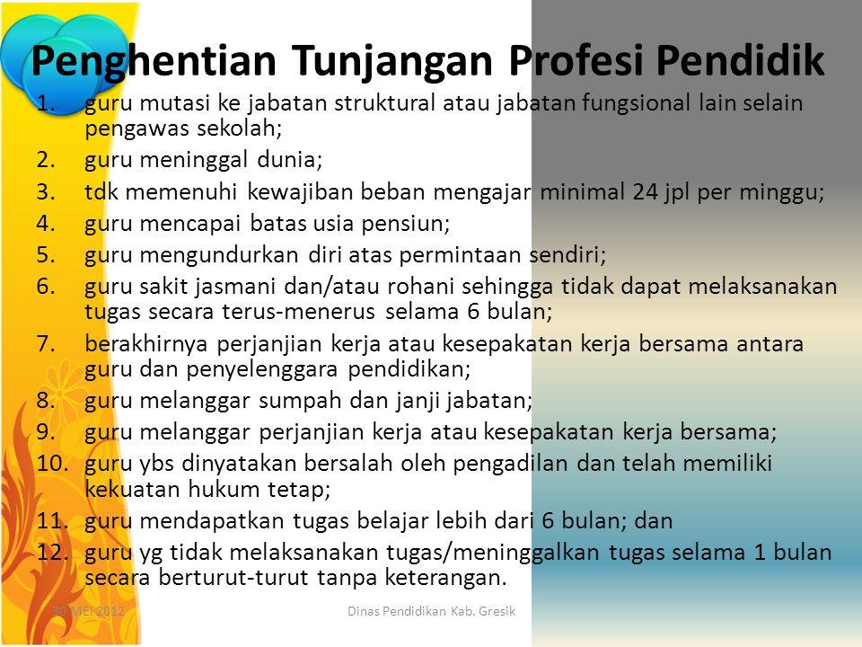 30 MEI 2012Dinas Pendidikan Kab. Gresik Penghentian Tunjangan Profesi Pendidik 1.guru mutasi ke jabatan struktural atau jabatan fungsional lain selain