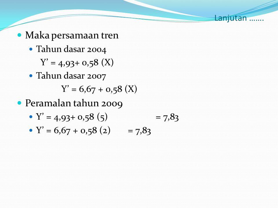 Lanjutan …….  Maka persamaan tren  Tahun dasar 2004 Y' = 4,93+ 0,58 (X)  Tahun dasar 2007 Y' = 6,67 + 0,58 (X)  Peramalan tahun 2009  Y' = 4,93+