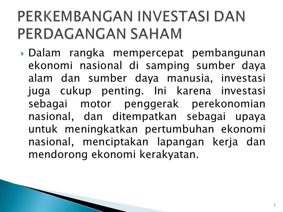  Dalam rangka mempercepat pembangunan ekonomi nasional di samping sumber daya alam dan sumber daya manusia, investasi juga cukup penting. Ini karena