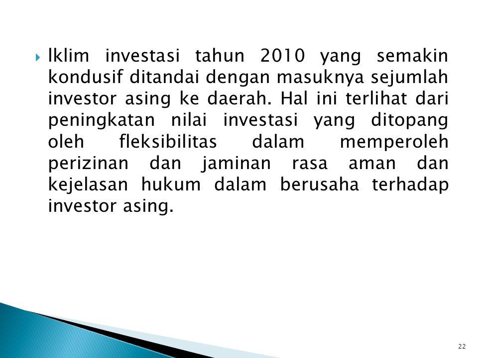  lklim investasi tahun 2010 yang semakin kondusif ditandai dengan masuknya sejumlah investor asing ke daerah. Hal ini terlihat dari peningkatan nilai