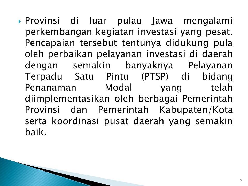  Provinsi di luar pulau Jawa mengalami perkembangan kegiatan investasi yang pesat. Pencapaian tersebut tentunya didukung pula oleh perbaikan pelayana