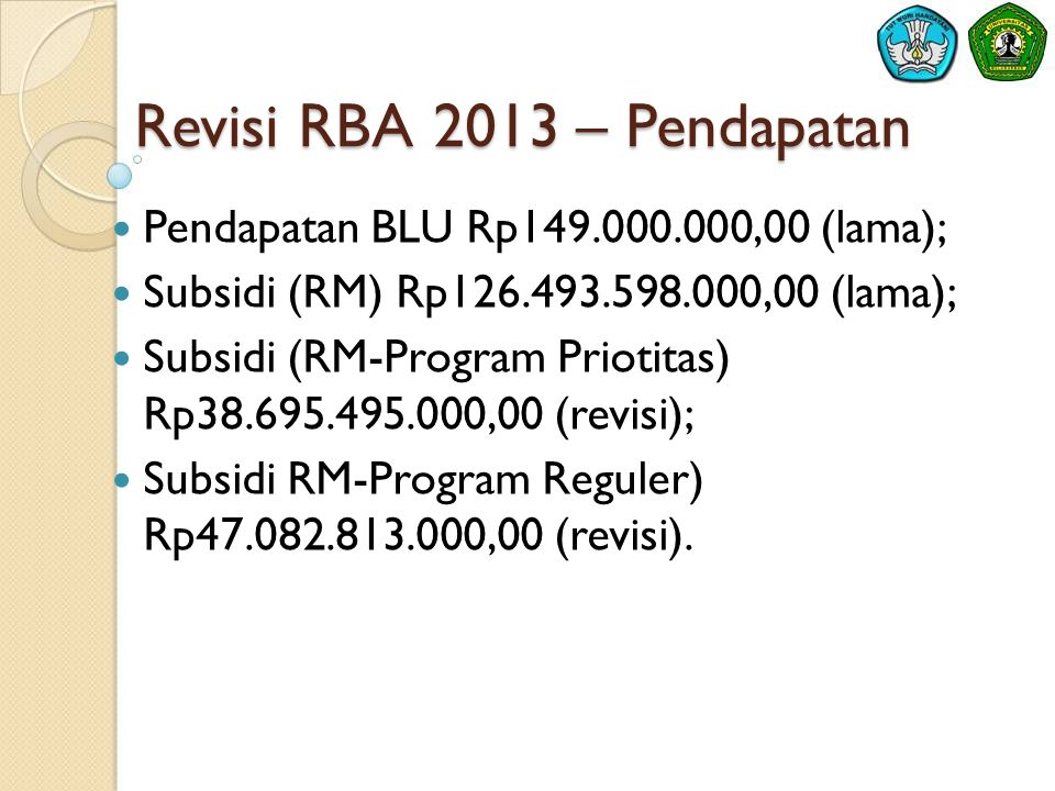 Revisi RBA 2013 – Pendapatan  Pendapatan BLU Rp149.000.000,00 (lama);  Subsidi (RM) Rp126.493.598.000,00 (lama);  Subsidi (RM-Program Priotitas) Rp38.695.495.000,00 (revisi);  Subsidi RM-Program Reguler) Rp47.082.813.000,00 (revisi).