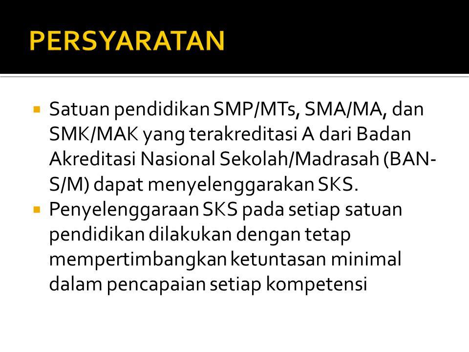  Satuan pendidikan SMP/MTs, SMA/MA, dan SMK/MAK yang terakreditasi A dari Badan Akreditasi Nasional Sekolah/Madrasah (BAN- S/M) dapat menyelenggarakan SKS.