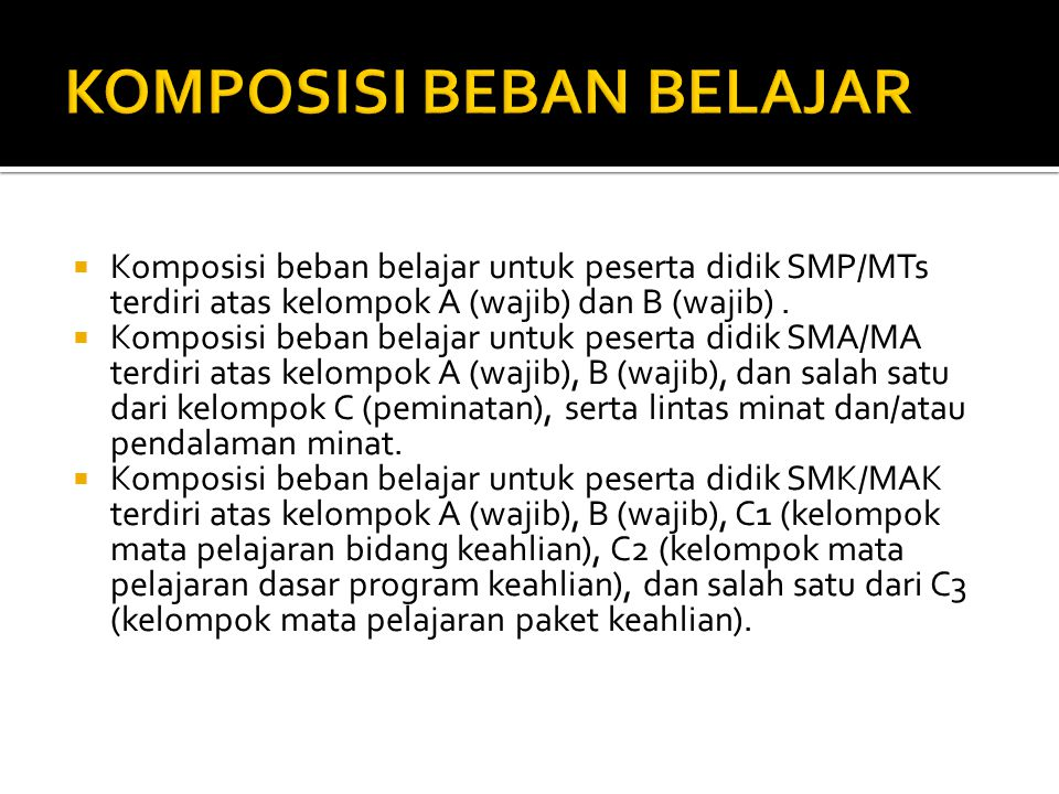  Komposisi beban belajar untuk peserta didik SMP/MTs terdiri atas kelompok A (wajib) dan B (wajib).  Komposisi beban belajar untuk peserta didik SMA