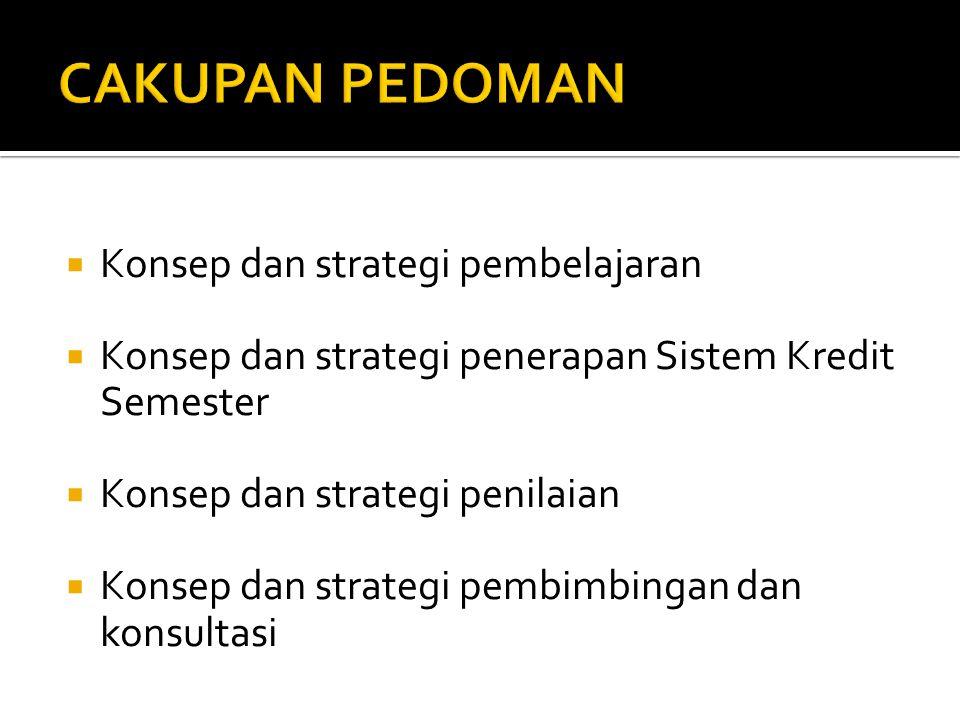  Konsep dan strategi pembelajaran  Konsep dan strategi penerapan Sistem Kredit Semester  Konsep dan strategi penilaian  Konsep dan strategi pembim