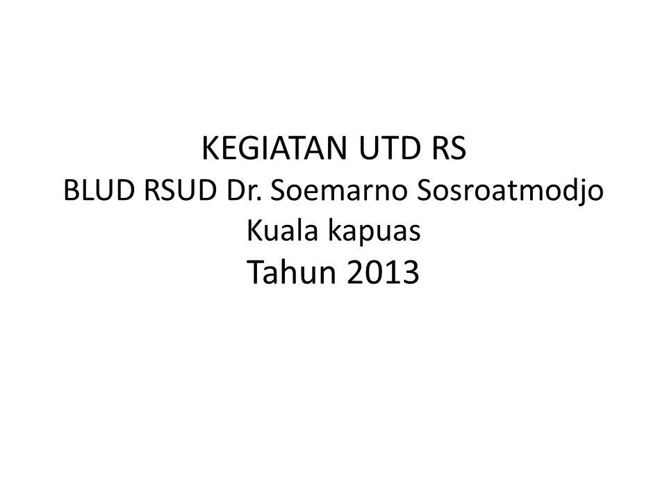 KEGIATAN UTD RS BLUD RSUD Dr. Soemarno Sosroatmodjo Kuala kapuas Tahun 2013
