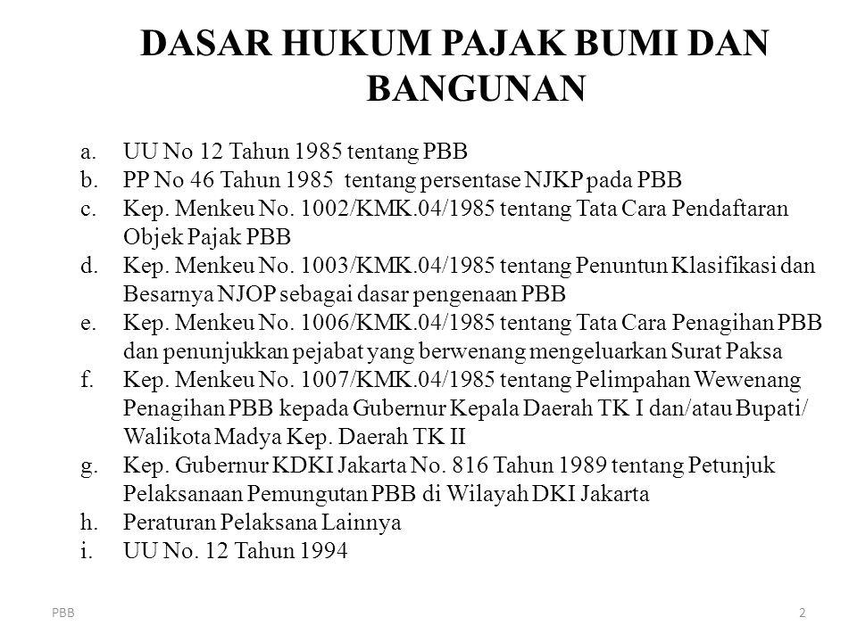 PBB2 DASAR HUKUM PAJAK BUMI DAN BANGUNAN a.UU No 12 Tahun 1985 tentang PBB b.PP No 46 Tahun 1985 tentang persentase NJKP pada PBB c.Kep. Menkeu No. 10
