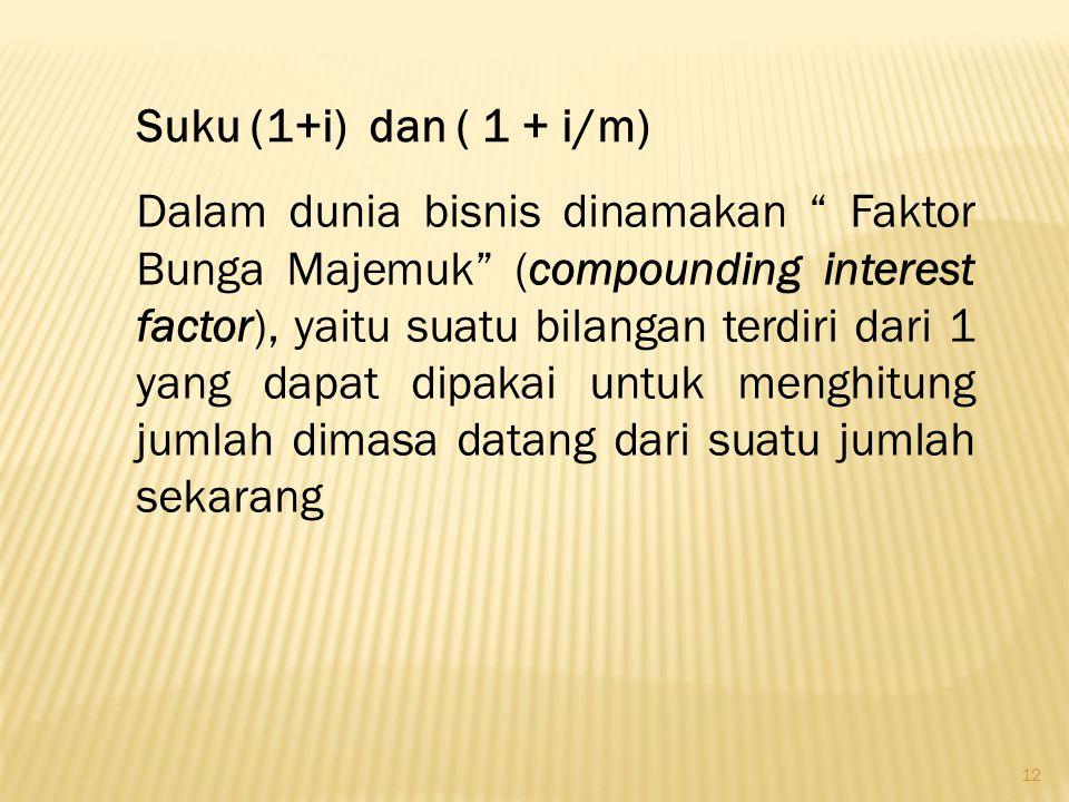 """12 Suku (1+i) dan ( 1 + i/m) Dalam dunia bisnis dinamakan """" Faktor Bunga Majemuk"""" (compounding interest factor), yaitu suatu bilangan terdiri dari 1 y"""