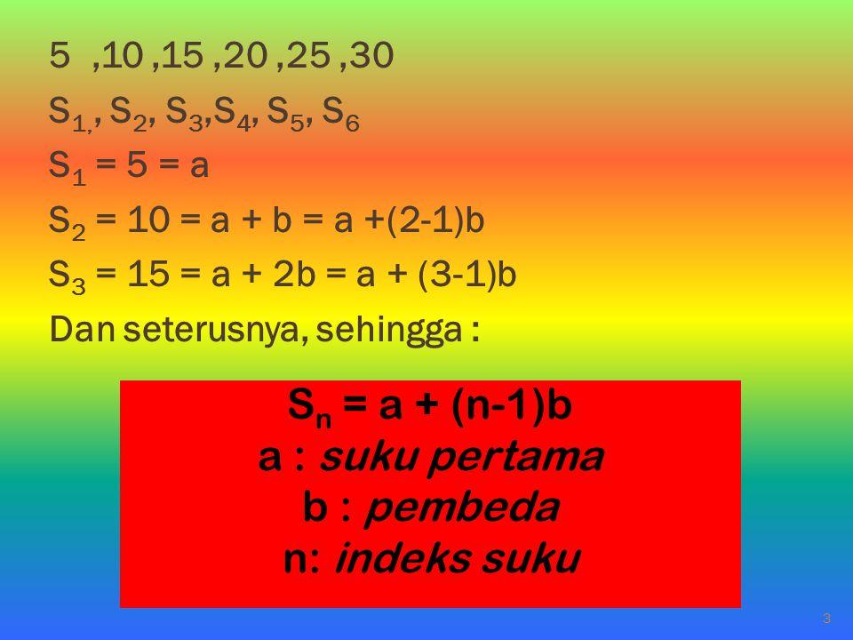 5,10,15,20,25,30 S 1,, S 2, S 3,S 4, S 5, S 6 S 1 = 5 = a S 2 = 10 = a + b = a +(2-1)b S 3 = 15 = a + 2b = a + (3-1)b Dan seterusnya, sehingga : S n =