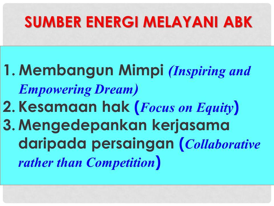 SUMBER ENERGI MELAYANI ABK SUMBER ENERGI MELAYANI ABK 1.Membangun Mimpi ( Inspiring and Empowering Dream ) 2.Kesamaan hak ( Focus on Equity ) 3.Menged