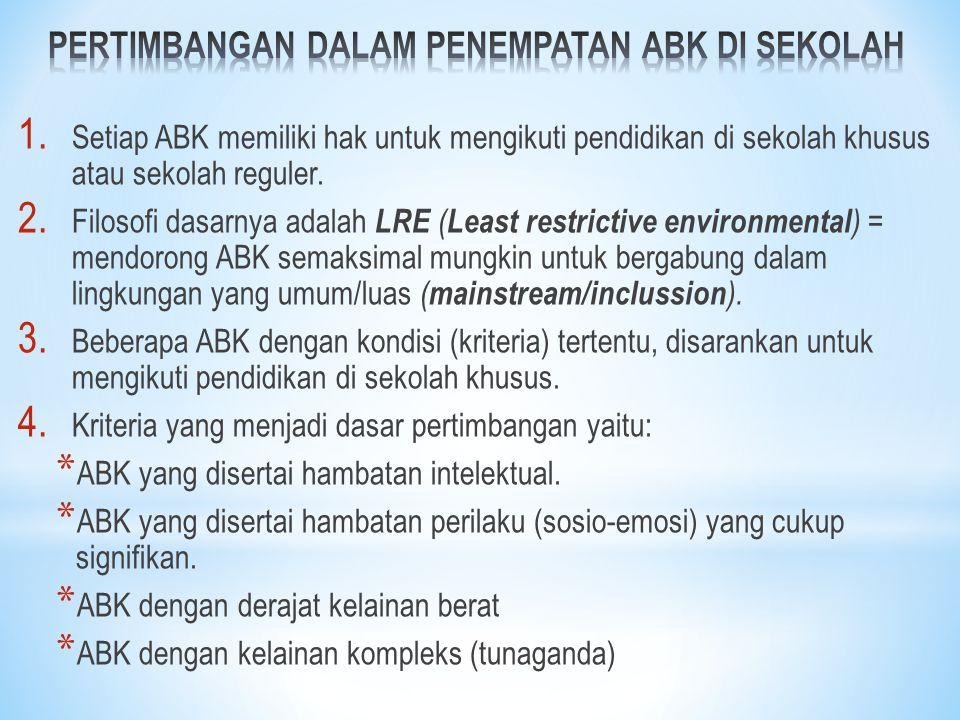 1. Setiap ABK memiliki hak untuk mengikuti pendidikan di sekolah khusus atau sekolah reguler. 2. Filosofi dasarnya adalah LRE ( Least restrictive envi
