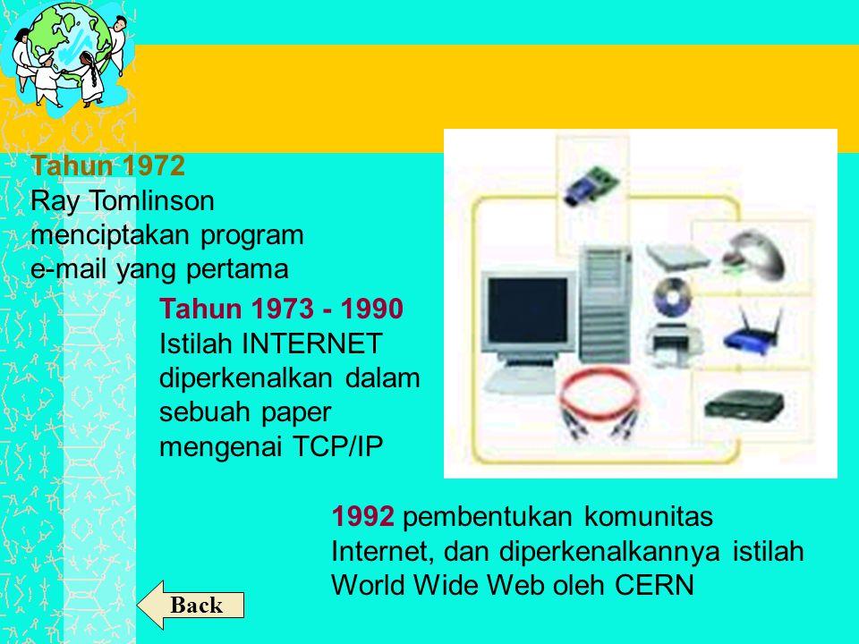 Tahun 1972 Ray Tomlinson menciptakan program e-mail yang pertama Tahun 1973 - 1990 Istilah INTERNET diperkenalkan dalam sebuah paper mengenai TCP/IP 1