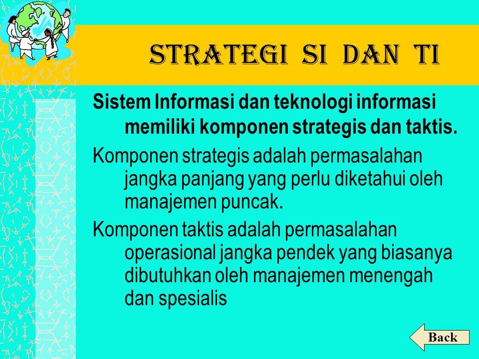 Strategi SI dan TI Sistem Informasi dan teknologi informasi memiliki komponen strategis dan taktis. Komponen strategis adalah permasalahan jangka panj