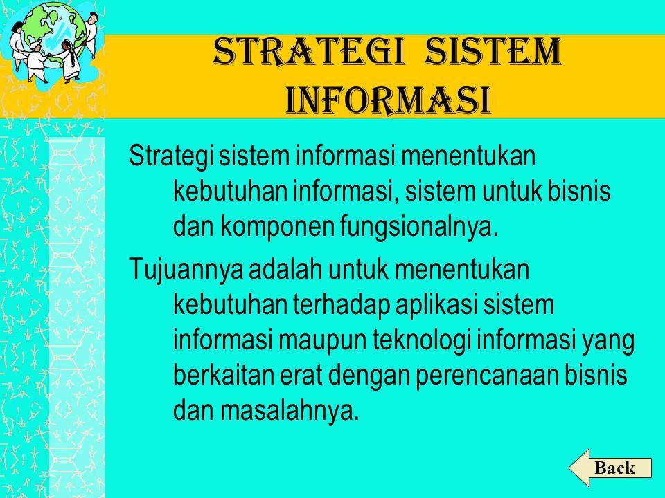 Strategi Sistem Informasi Strategi sistem informasi menentukan kebutuhan informasi, sistem untuk bisnis dan komponen fungsionalnya. Tujuannya adalah u