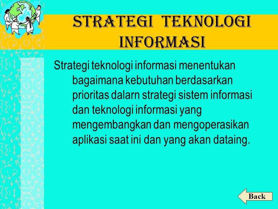 Strategi Teknologi Informasi Strategi teknologi informasi menentukan bagaimana kebutuhan berdasarkan prioritas dalarn strategi sistem informasi dan te