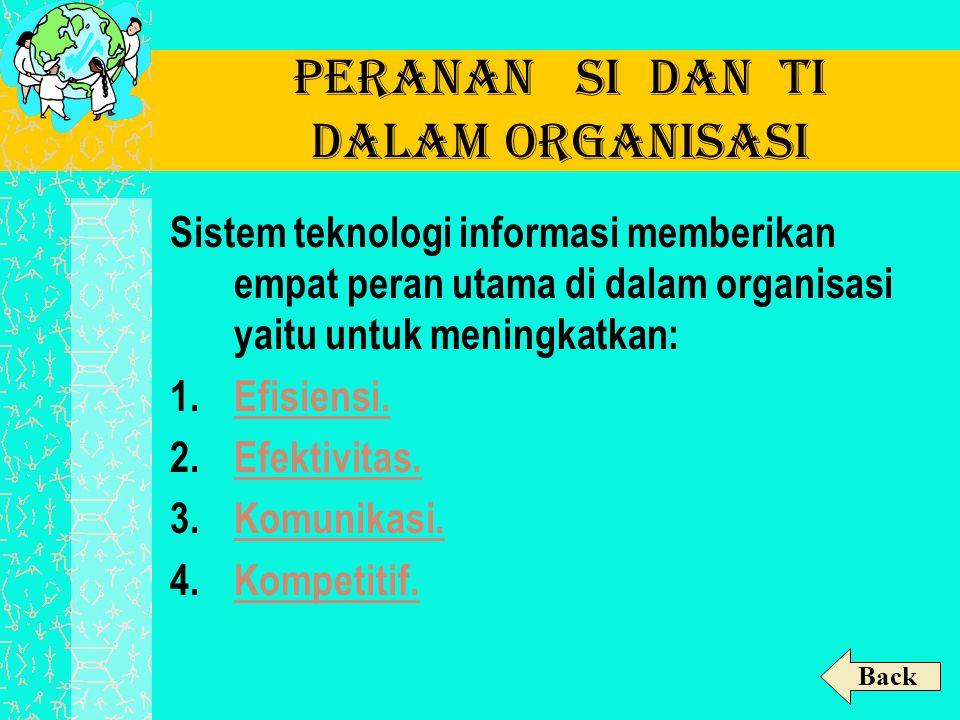 Peranan SI dan TI dalam Organisasi Sistem teknologi informasi memberikan empat peran utama di dalam organisasi yaitu untuk meningkatkan: 1.Efisiensi.E