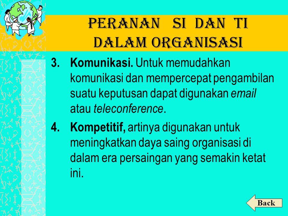 Peranan SI dan TI dalam Organisasi 3.Komunikasi. Untuk memudahkan komunikasi dan mempercepat pengambilan suatu keputusan dapat digunakan email atau te