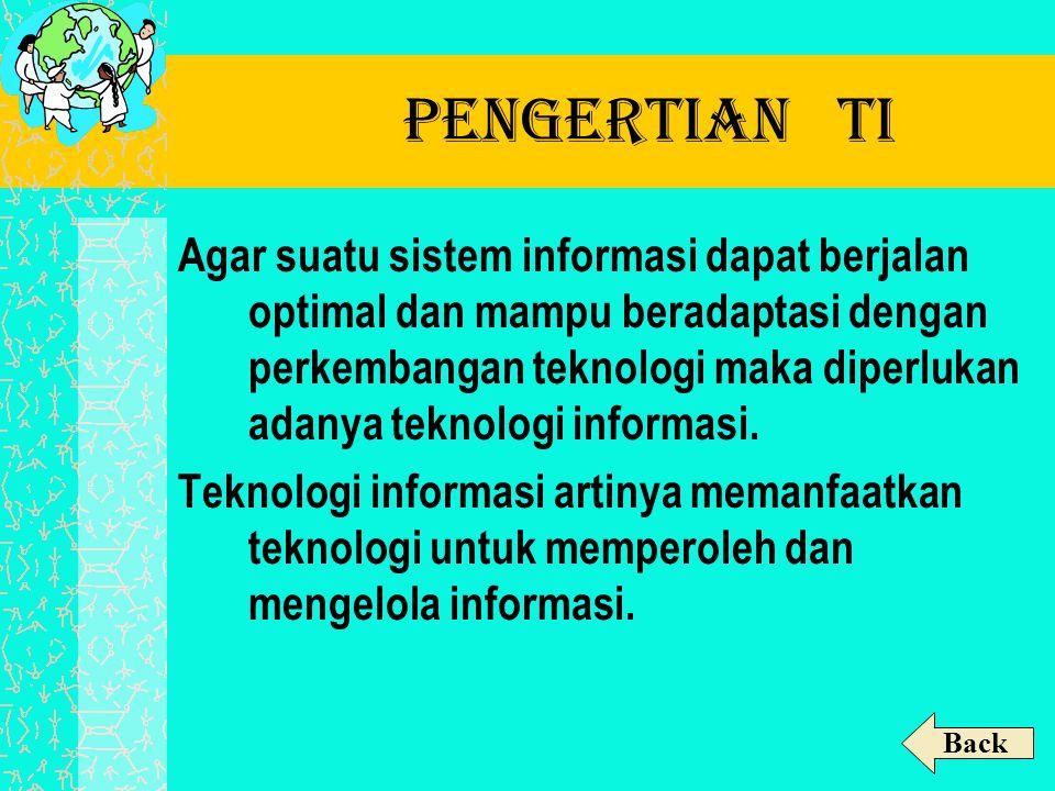 Pengertian TI Agar suatu sistem informasi dapat berjalan optimal dan mampu beradaptasi dengan perkembangan teknologi maka diperlukan adanya teknologi