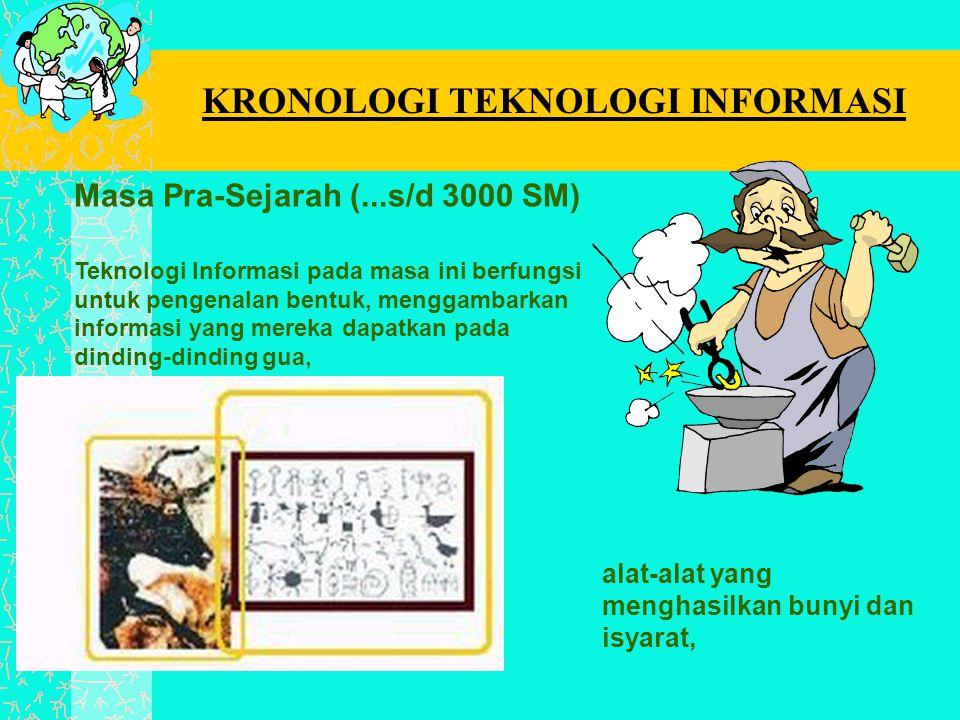 Masa Pra-Sejarah (...s/d 3000 SM) Teknologi Informasi pada masa ini berfungsi untuk pengenalan bentuk, menggambarkan informasi yang mereka dapatkan pa