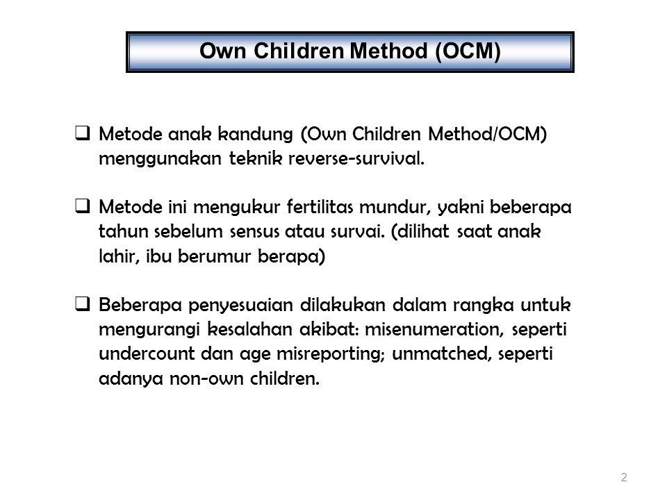 13 FAKTOR KOREKSI : Faktor penyesuai terhadap underenumeration dan age misreporting untuk anak umur x hingga x+1 : Faktor penyesuai terhadap underenumeration dan age misreporting untuk anak umur x hingga x+1, yang dilahirkan oleh wanita umur a hingga +1.