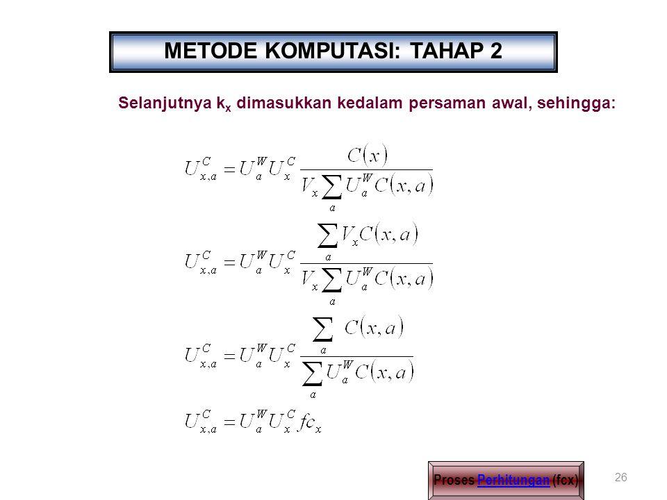26 Selanjutnya k x dimasukkan kedalam persaman awal, sehingga: METODE KOMPUTASI: TAHAP 2 Proses Perhitungan (fcx)