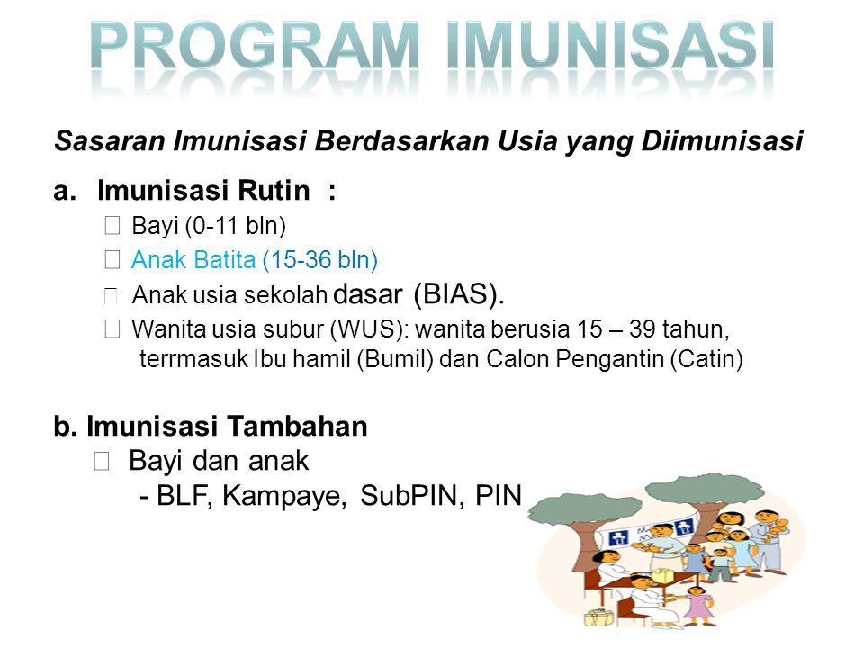 Sasaran Imunisasi Berdasarkan Usia yang Diimunisasi a.Imunisasi Rutin : Bayi (0-11 bln) Anak Batita (15-36 bln) Anak usia sekolah dasar (BIAS).