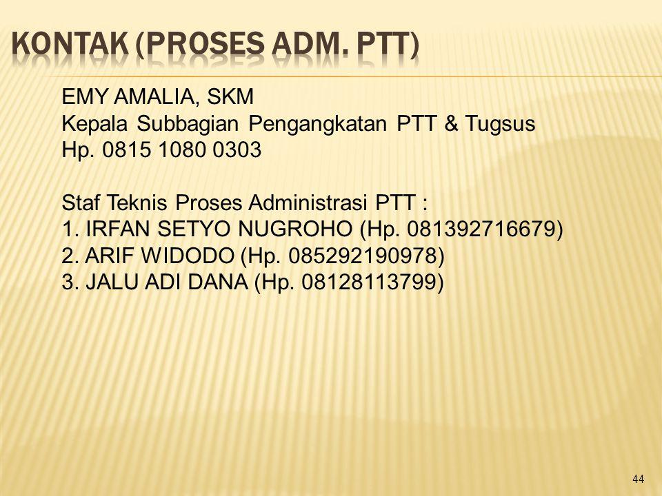 44 EMY AMALIA, SKM Kepala Subbagian Pengangkatan PTT & Tugsus Hp. 0815 1080 0303 Staf Teknis Proses Administrasi PTT : 1. IRFAN SETYO NUGROHO (Hp. 081