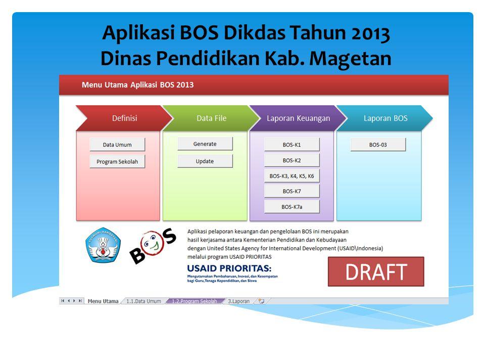 Aplikasi BOS Dikdas Tahun 2013 Dinas Pendidikan Kab. Magetan