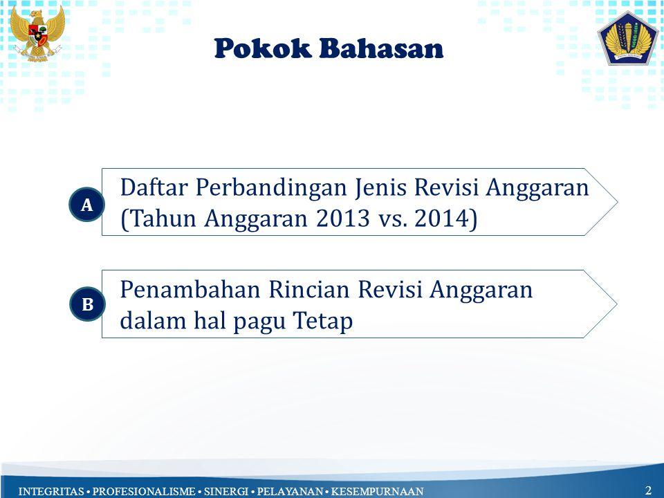 INTEGRITAS • PROFESIONALISME • SINERGI • PELAYANAN • KESEMPURNAAN 2 Pokok Bahasan Daftar Perbandingan Jenis Revisi Anggaran (Tahun Anggaran 2013 vs. 2