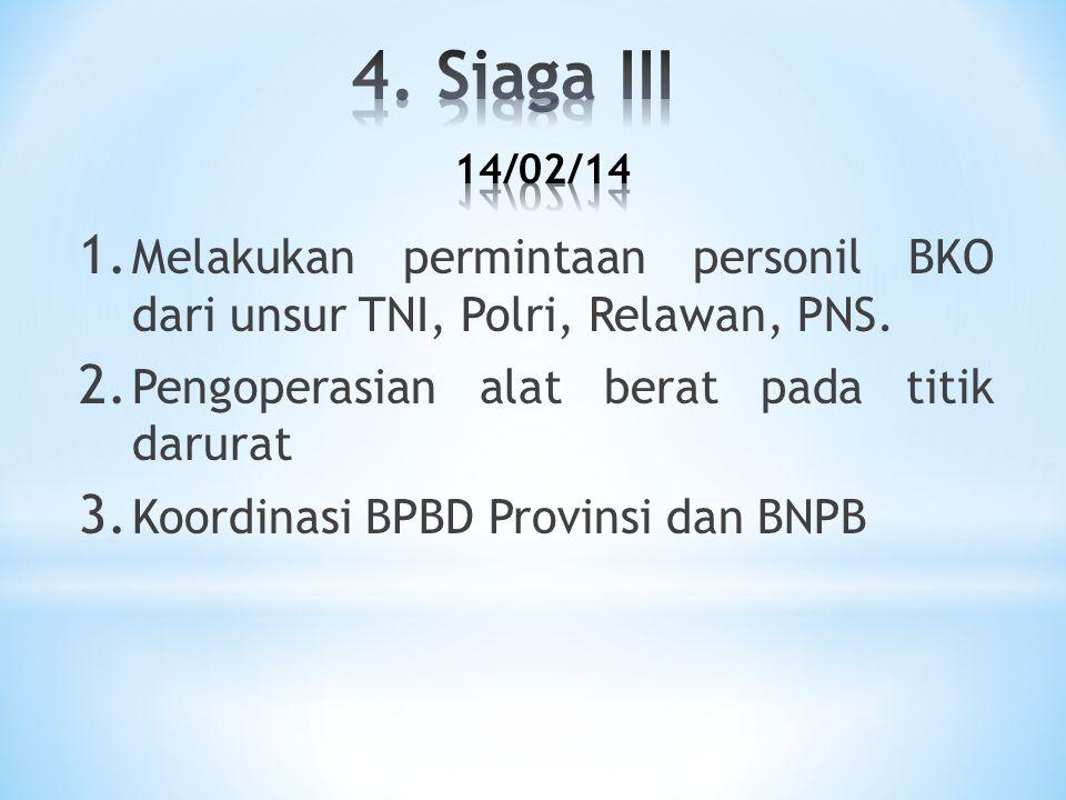 1. Melakukan permintaan personil BKO dari unsur TNI, Polri, Relawan, PNS. 2. Pengoperasian alat berat pada titik darurat 3. Koordinasi BPBD Provinsi d