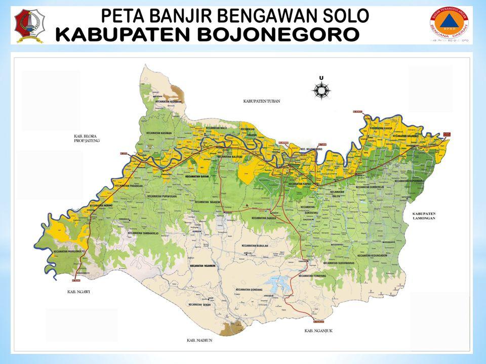 * Ancaman bencana banjir untuk wilayah bojonegoro, banjir bengawan solo ada 16 kecamatan dan 146 desa meliputi : Lanjutan….