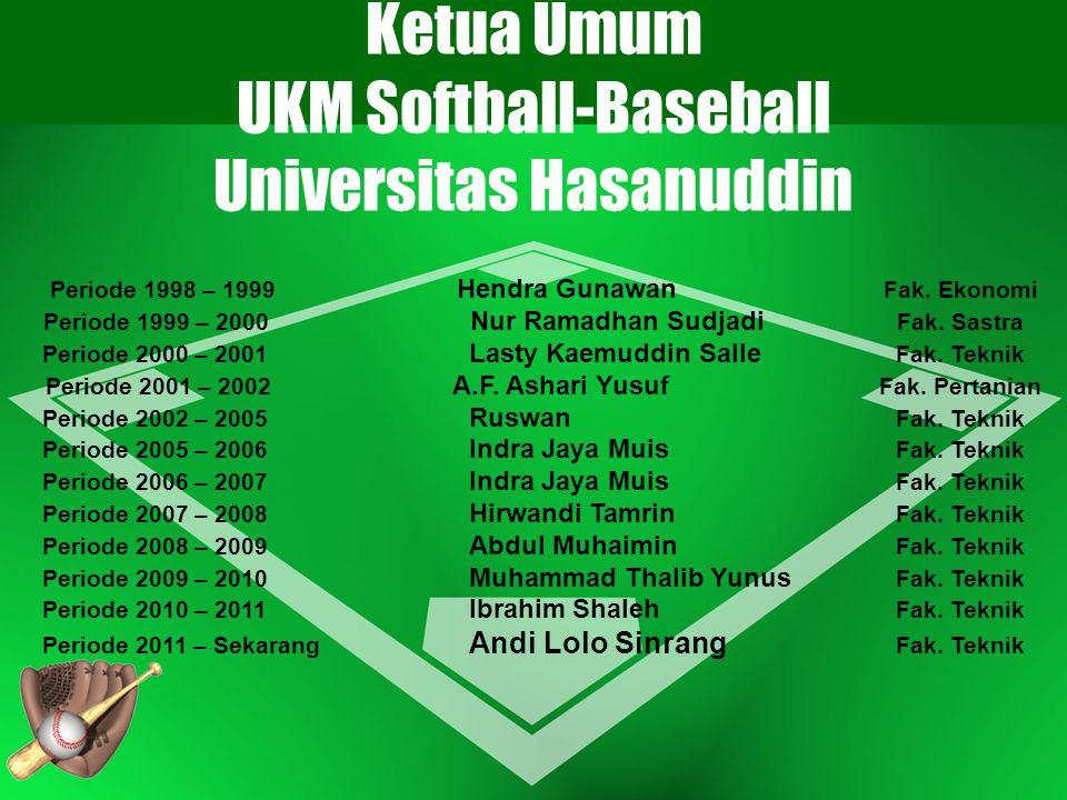 Ketua Umum UKM Softball-Baseball Universitas Hasanuddin Periode 1998 – 1999 Hendra Gunawan Fak. Ekonomi Periode 1999 – 2000 Nur Ramadhan Sudjadi Fak.