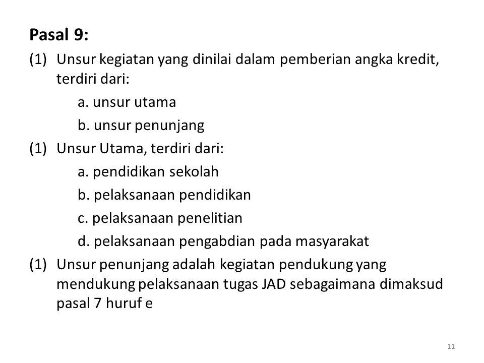 Pasal 9: (1)Unsur kegiatan yang dinilai dalam pemberian angka kredit, terdiri dari: a. unsur utama b. unsur penunjang (1)Unsur Utama, terdiri dari: a.