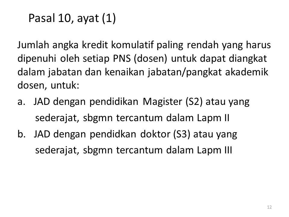 Pasal 10, ayat (1) Jumlah angka kredit komulatif paling rendah yang harus dipenuhi oleh setiap PNS (dosen) untuk dapat diangkat dalam jabatan dan kena