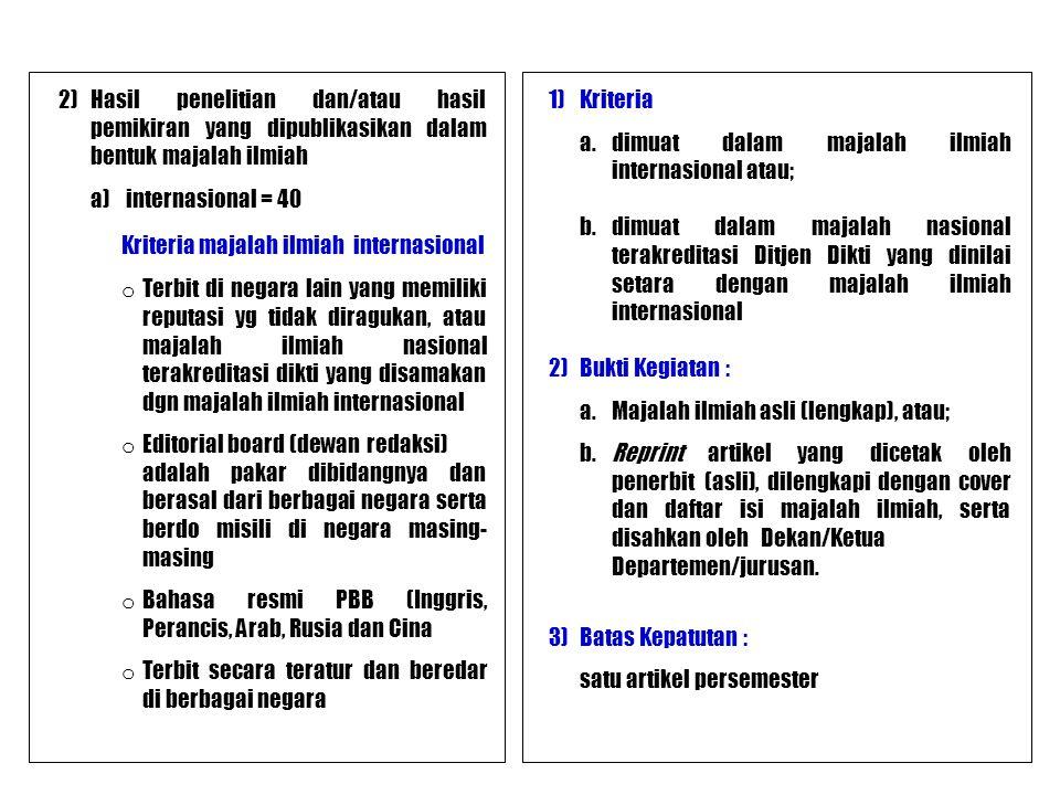 2)Hasil penelitian dan/atau hasil pemikiran yang dipublikasikan dalam bentuk majalah ilmiah a) internasional = 40 Kriteria majalah ilmiah internasiona