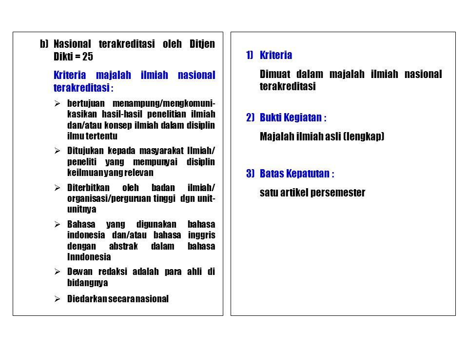 b)Nasional terakreditasi oleh Ditjen Dikti = 25 Kriteria majalah ilmiah nasional terakreditasi :  bertujuan menampung/mengkomuni- kasikan hasil-hasil