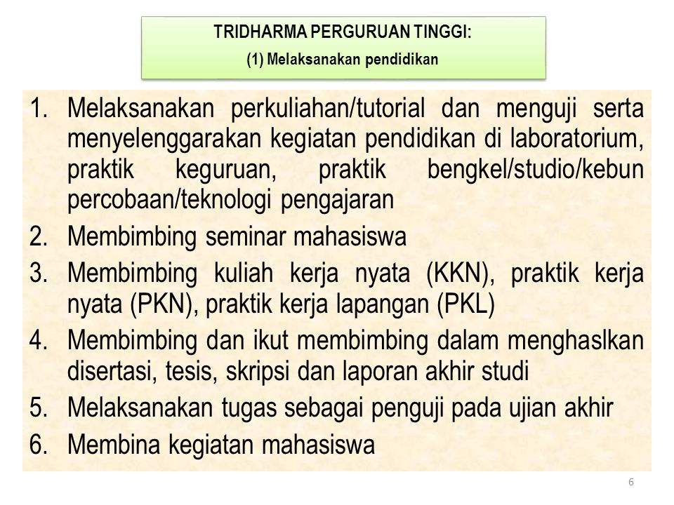 1.Melaksanakan perkuliahan/tutorial dan menguji serta menyelenggarakan kegiatan pendidikan di laboratorium, praktik keguruan, praktik bengkel/studio/k