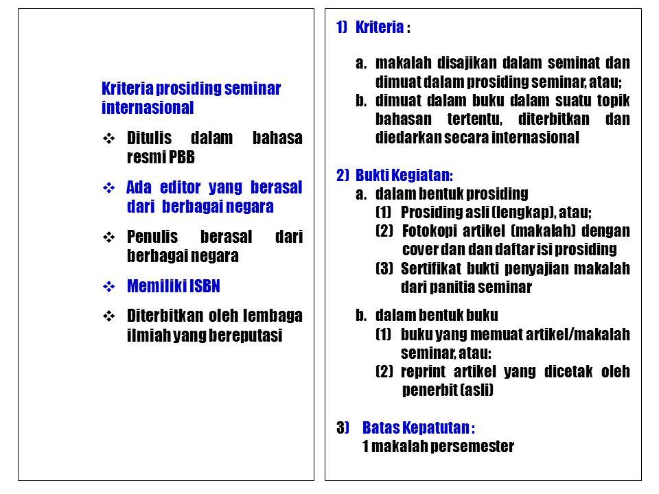 Kriteria prosiding seminar internasional  Ditulis dalam bahasa resmi PBB  Ada editor yang berasal dari berbagai negara  Penulis berasal dari berbag